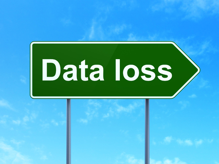 data loss: Information concept: Data Loss on green road highway sign, clear blue sky background, 3D rendering