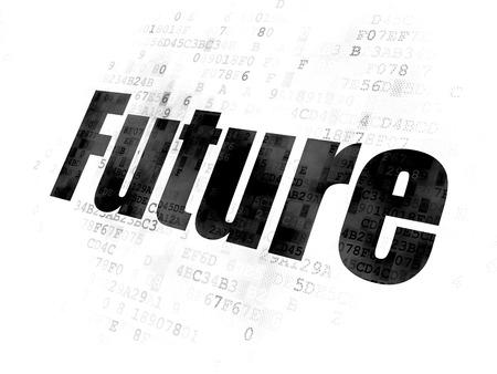 cronologia: Concepto de tiempo: Pixelated futuro texto negro sobre fondo digital