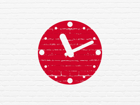 cronologia: Time concept: Painted red Clock icon on White Brick wall background