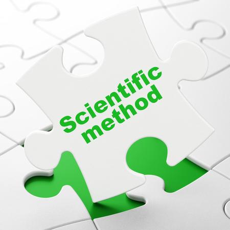 metodo cientifico: Concepto de la ciencia: Método Científico sobre fondo blanco piezas del rompecabezas, 3D