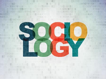 sociologia: Concepto de la educación: Pintado Sociología texto multicolor en el fondo de papel de Datos Digitales
