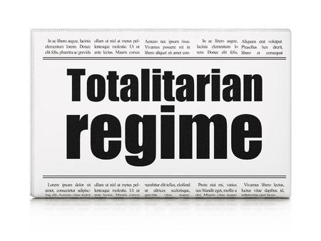 regime: Political concept: newspaper headline Totalitarian Regime on White background, 3D rendering Stock Photo