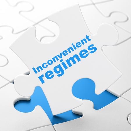 regimes: Politics concept: Inconvenient Regimes on White puzzle pieces background, 3D rendering