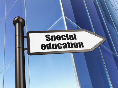 special education: Learning concept: sign Special Education on Building background