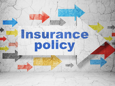insurance policy: Insurance concept:  arrow with Insurance Policy on grunge textured concrete wall background, 3D rendering