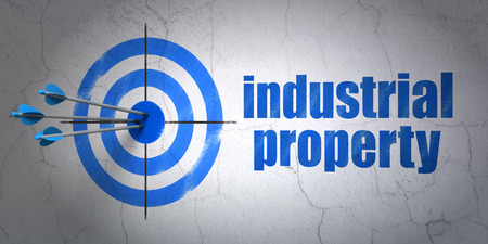 hitting a wall: Success law concept: arrows hitting the center of target, Blue Industrial Property on wall background, 3D rendering