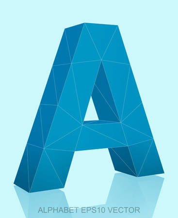 Abstract Blue 3D polygonal uppercase letter A with reflection. Low poly alphabet collection.