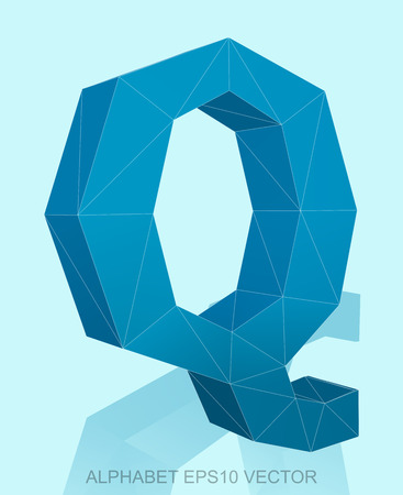 Abstract Blue 3D polygonal uppercase letter Q with reflection. Low poly alphabet collection.