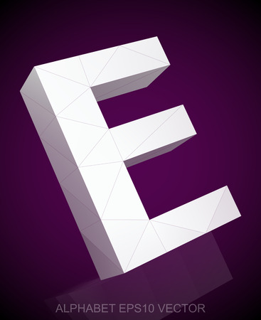e white: Abstract White 3D polygonal uppercase letter E with reflection. Low poly alphabet collection.