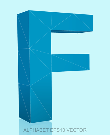 uppercase: Abstract Blue 3D polygonal uppercase letter F with reflection. Low poly alphabet collection.