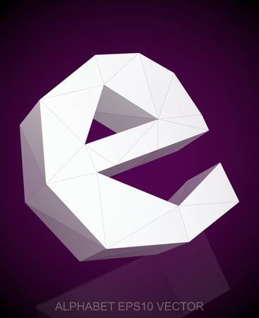 e white: Abstract White 3D polygonal lowercase letter E with reflection. Low poly alphabet collection. Illustration