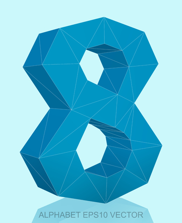 Abstract Blue 3D polygonal 8 with reflection. Low poly alphabet collection.