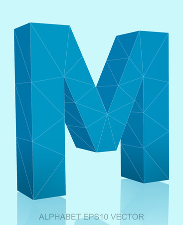 uppercase: Abstract Blue 3D polygonal uppercase letter M with reflection. Low poly alphabet collection.