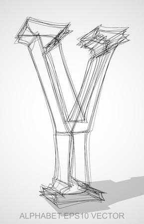 wire frame: Abstract illustration of a Ink sketched Y with Transparent Shadow. Hand drawn 3D Y for your design.