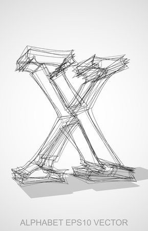 wire frame: Abstract illustration of a Ink sketched lowercase letter X with Transparent Shadow. Hand drawn 3D X for your design.