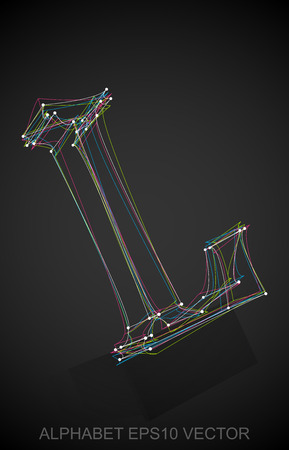 Abstract illustration of a Multicolor sketched uppercase letter L with Reflection. Hand drawn 3D L for your design.