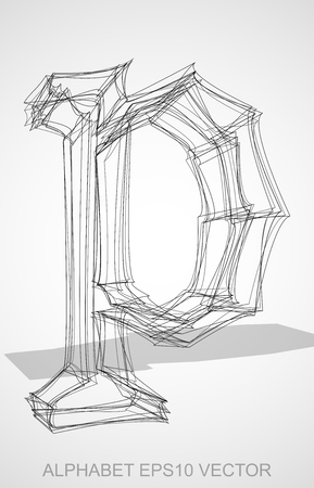 Abstract illustration of a Ink sketched lowercase letter P with Transparent Shadow. Hand drawn 3D P for your design.