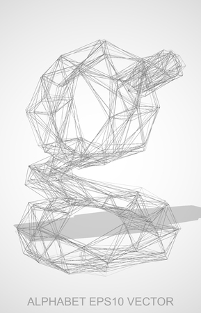 Abstract illustration of a Pencil sketched lowercase letter G with Transparent Shadow. Hand drawn 3D G for your design. EPS 10 vector illustration. Illustration
