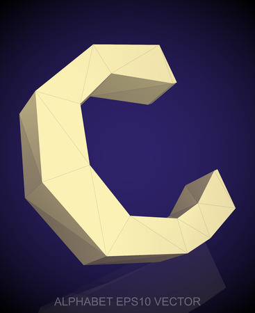 uppercase: Abstract Yellow 3D polygonal uppercase letter C with reflection. Illustration