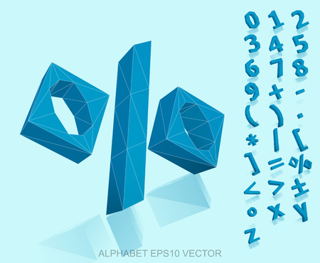 deg: Set of Blue 3D polygonal Numbers And Mathematical Symbols with reflection. %