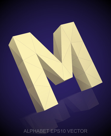 uppercase: Abstract Yellow 3D polygonal uppercase letter M with reflection. Illustration