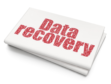 data recovery: Data concept: Pixelated red text Data Recovery on Blank Newspaper background, 3D rendering