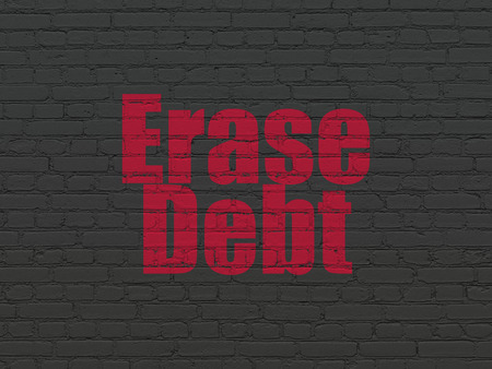 erase: Business concept: Painted red text Erase Debt on Black Brick wall background Stock Photo