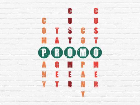 Advertising concept: Painted green word Promo in solving Crossword Puzzle