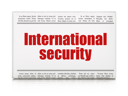 international security: Safety concept: newspaper headline International Security on White background, 3D rendering
