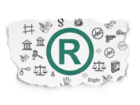 r regulation: Law concept: Painted green Registered icon on Torn Paper background with  Hand Drawn Law Icons