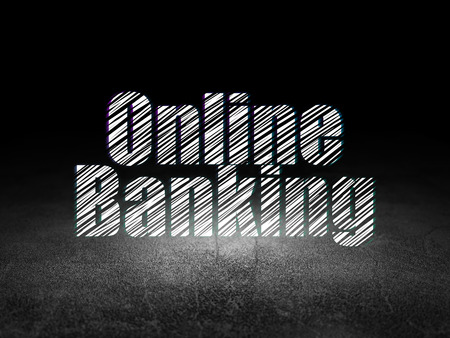 Currency concept: Glowing text Online Banking in grunge dark room with Dirty Floor, black background