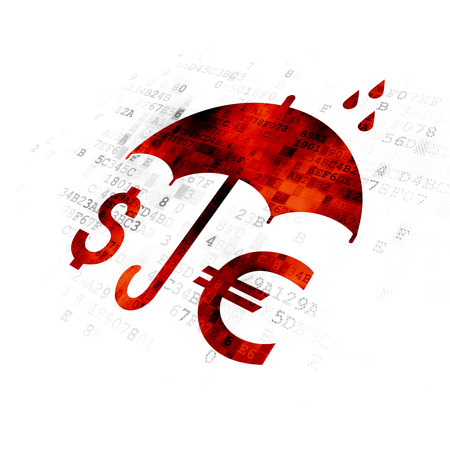 Protection concept: Pixelated red Money And Umbrella icon on Digital background Stock Photo