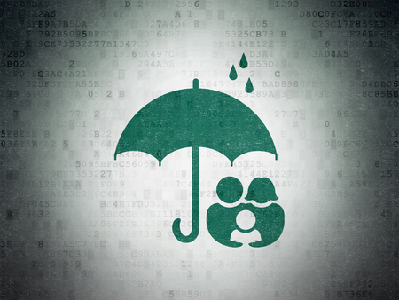 brolly: Privacy concept: Painted green Family And Umbrella icon on Digital Data Paper background
