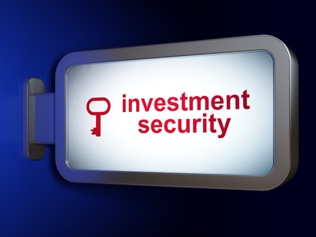 investment security: Safety concept: Investment Security and Key on advertising billboard background, 3D rendering