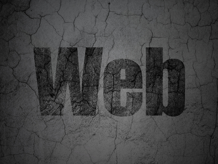 hypertext: Web development concept: Black Web on grunge textured concrete wall background