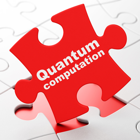 computation: Science concept: Quantum Computation on Red puzzle pieces background, 3D rendering Stock Photo