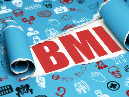 BMI: Medicine concept: red text BMI under the curled piece of Blue torn paper with  Hand Drawn Medicine Icons, 3D rendering