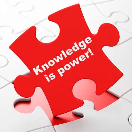 Studying concept: Knowledge Is power! on Red puzzle pieces background, 3D rendering Stock Photo