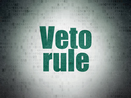 veto: Political concept: Painted green word Veto Rule on Digital Data Paper background