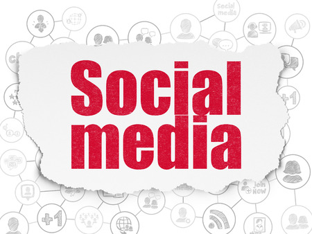 microblog: Social network concept: Painted red text Social Media on Torn Paper background with Scheme Of Hand Drawn Social Network Icons Stock Photo