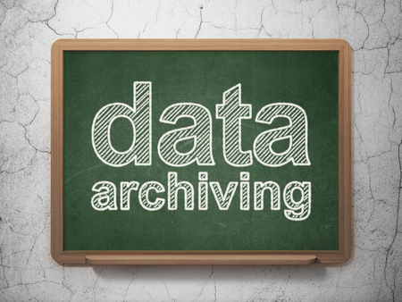 data archiving: Data concept: text Data Archiving on Green chalkboard on grunge wall background, 3D rendering