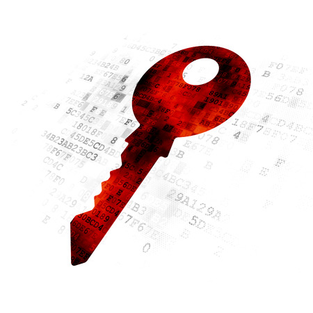 pin code: Security concept: Pixelated red Key icon on Digital background Stock Photo