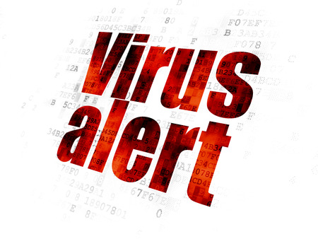 Safety concept: Pixelated red text Virus Alert on Digital background Stock Photo