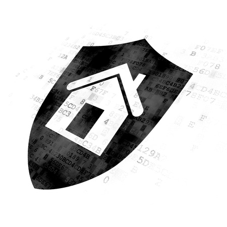 pixelated: Finance concept: Pixelated black Shield icon on Digital background