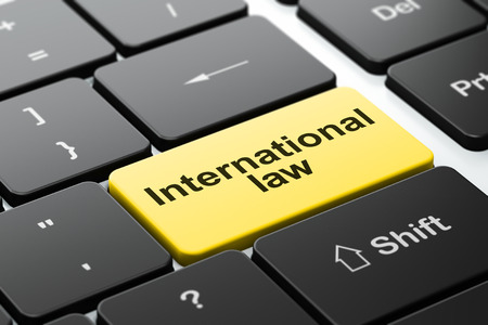 international law: Political concept: computer keyboard with word International Law, selected focus on enter button background, 3D rendering Stock Photo