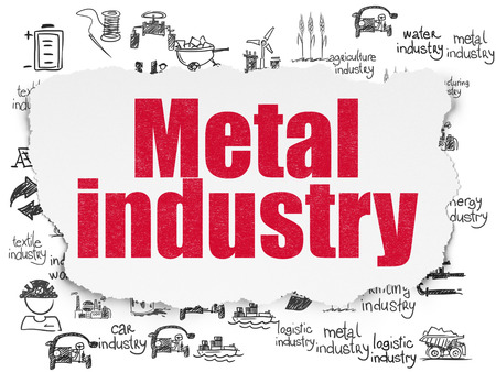 torn metal: Industry concept: Painted red text Metal Industry on Torn Paper background with  Hand Drawn Industry Icons Stock Photo