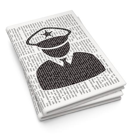 法の概念: 新聞の背景に黒いピクセル警察アイコン 3D レンダリング