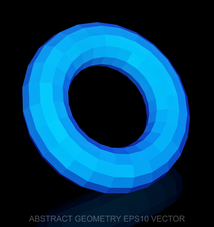 torus: Abstract stereometry: low poly Blue Torus. 3D polygonal object,