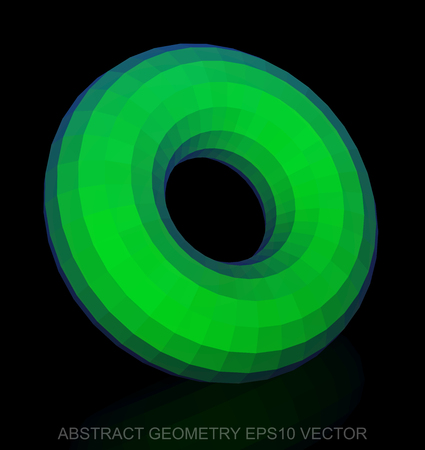 torus: Abstract geometry: low poly Green Torus. 3D polygonal object, EPS 10, vector illustration.