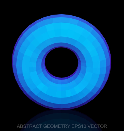 torus: Abstract stereometry: low poly Blue Torus. 3D polygonal object,   vector illustration. Illustration
